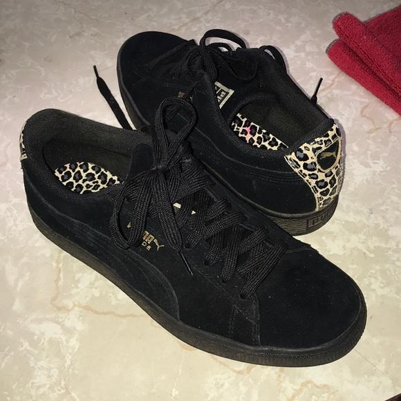 Puma Shoes - Puma Suede Black and Leopard Women's 7.5